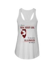 JERSEY GIRL LIVING IN ILLINOIS WORLD Ladies Flowy Tank thumbnail