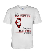 JERSEY GIRL LIVING IN ILLINOIS WORLD V-Neck T-Shirt thumbnail