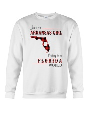 ARKANSAS GIRL LIVING IN FLORIDA WORLD Crewneck Sweatshirt thumbnail