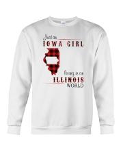 IOWA GIRL LIVING IN ILLINOIS WORLD Crewneck Sweatshirt thumbnail