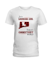 LOUISIANA GIRL LIVING IN CONNECTICUT WORLD Ladies T-Shirt thumbnail