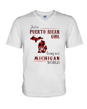 PUERTO RICAN GIRL LIVING IN MICHIGAN WORLD V-Neck T-Shirt thumbnail