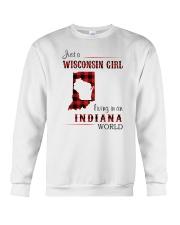 WISCONSIN GIRL LIVING IN INDIANA WORLD Crewneck Sweatshirt thumbnail