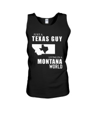 JUST A TEXAS GUY LIVING IN MONTANA WORLD Unisex Tank thumbnail