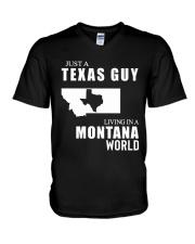 JUST A TEXAS GUY LIVING IN MONTANA WORLD V-Neck T-Shirt thumbnail