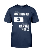 JUST A JERSEY GUY LIVING IN KANSAS WORLD Classic T-Shirt front