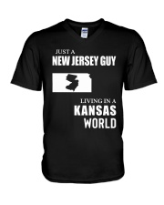 JUST A JERSEY GUY LIVING IN KANSAS WORLD V-Neck T-Shirt thumbnail