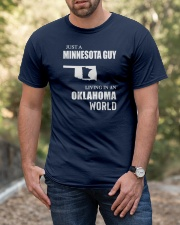JUST A MINNESOTA GUY LIVING IN OKLAHOMA WORLD Classic T-Shirt apparel-classic-tshirt-lifestyle-front-53