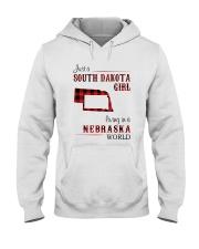SOUTH DAKOTA GIRL LIVING IN NEBRASKA WORLD Hooded Sweatshirt thumbnail