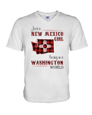 NEW MEXICO GIRL LIVING IN WASHINGTON WORLD V-Neck T-Shirt thumbnail
