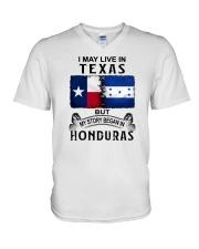 LIVE IN TEXAS BEGAN IN HONDURAS V-Neck T-Shirt thumbnail