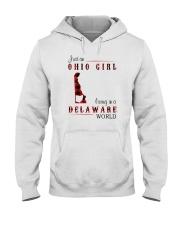OHIO GIRL LIVING IN DELAWARE WORLD Hooded Sweatshirt thumbnail