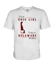 OHIO GIRL LIVING IN DELAWARE WORLD V-Neck T-Shirt thumbnail