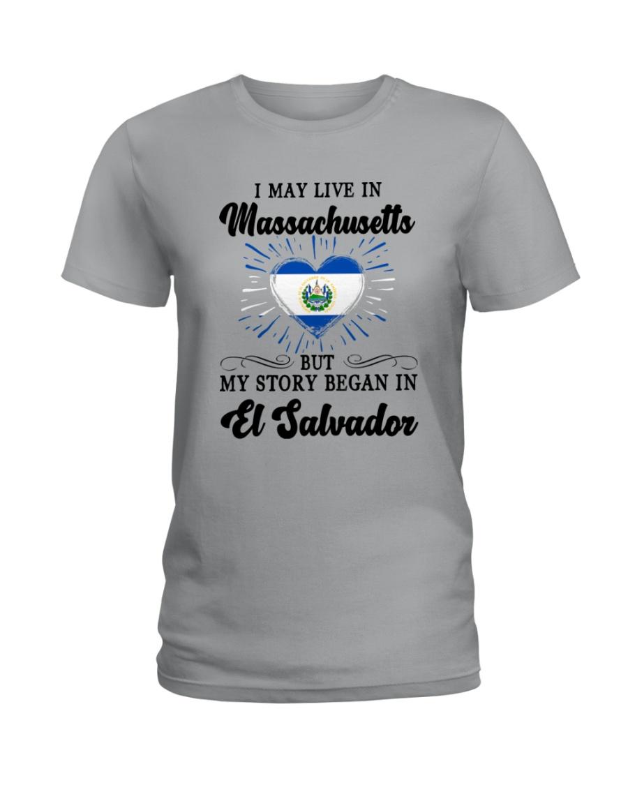LIVE IN MASSACHUSETTS BEGAN IN EL SALVADOR HEART Ladies T-Shirt