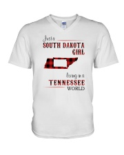 SOUTH DAKOTA GIRL LIVING IN TENNESSEE WORLD  V-Neck T-Shirt thumbnail