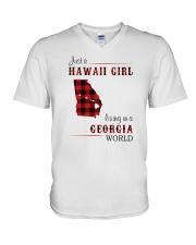 HAWAII GIRL LIVING IN GEORGIA WORLD V-Neck T-Shirt thumbnail