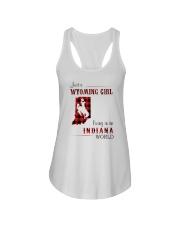 WYOMING GIRL LIVING IN INDIANA WORLD Ladies Flowy Tank thumbnail