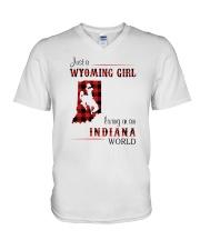 WYOMING GIRL LIVING IN INDIANA WORLD V-Neck T-Shirt thumbnail