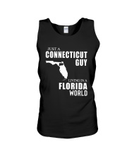 JUST A CONNECTICUT GUY LIVING IN FLORIDA WORLD Unisex Tank thumbnail