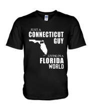 JUST A CONNECTICUT GUY LIVING IN FLORIDA WORLD V-Neck T-Shirt thumbnail