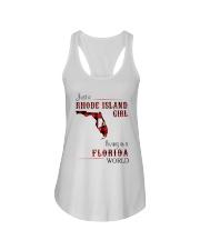 RHODE ISLAND GIRL LIVING IN FLORIDA WORLD Ladies Flowy Tank thumbnail