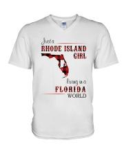 RHODE ISLAND GIRL LIVING IN FLORIDA WORLD V-Neck T-Shirt thumbnail