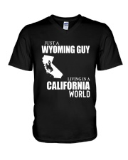 JUST A WYOMING GUY LIVING IN CALIFORNIA WORLD V-Neck T-Shirt thumbnail