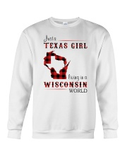 TEXAS GIRL LIVING IN WISCONSIN WORLD Crewneck Sweatshirt thumbnail