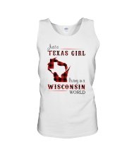 TEXAS GIRL LIVING IN WISCONSIN WORLD Unisex Tank thumbnail
