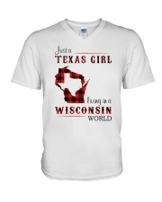 TEXAS GIRL LIVING IN WISCONSIN WORLD V-Neck T-Shirt thumbnail