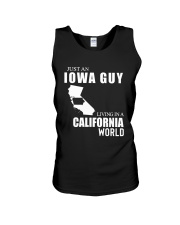 JUST AN IOWA GUY LIVING IN CALIFORNIA WORLD Unisex Tank thumbnail