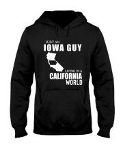 JUST AN IOWA GUY LIVING IN CALIFORNIA WORLD Hooded Sweatshirt thumbnail
