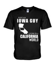 JUST AN IOWA GUY LIVING IN CALIFORNIA WORLD V-Neck T-Shirt thumbnail