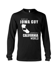 JUST AN IOWA GUY LIVING IN CALIFORNIA WORLD Long Sleeve Tee thumbnail