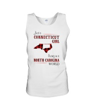 CONNECTICUT GIRL LIVING IN NORTH CAROLINA WORLD Unisex Tank thumbnail