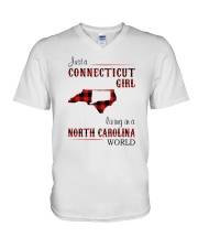 CONNECTICUT GIRL LIVING IN NORTH CAROLINA WORLD V-Neck T-Shirt thumbnail