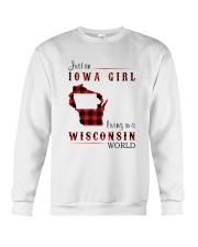 IOWA GIRL LIVING IN WISCONSIN WORLD Crewneck Sweatshirt thumbnail