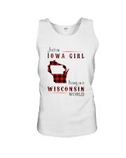 IOWA GIRL LIVING IN WISCONSIN WORLD Unisex Tank thumbnail