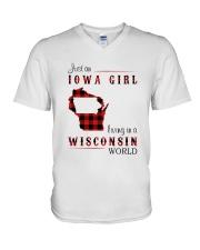 IOWA GIRL LIVING IN WISCONSIN WORLD V-Neck T-Shirt thumbnail