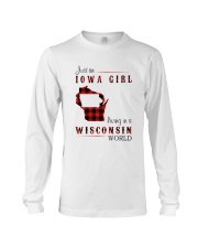 IOWA GIRL LIVING IN WISCONSIN WORLD Long Sleeve Tee thumbnail