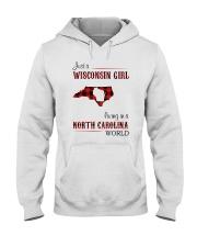 WISCONSIN GIRL LIVING IN NC WORLD Hooded Sweatshirt thumbnail
