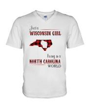 WISCONSIN GIRL LIVING IN NC WORLD V-Neck T-Shirt thumbnail