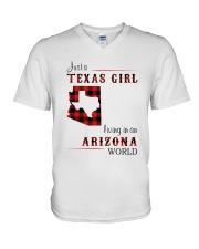 TEXAS GIRL LIVING IN ARIZONA WORLD V-Neck T-Shirt thumbnail