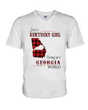 KENTUCKY GIRL LIVING IN GEORGIA WORLD V-Neck T-Shirt thumbnail