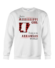 MISSISSIPPI GIRL LIVING IN ARKANSAS WORLD Crewneck Sweatshirt thumbnail