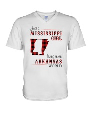 MISSISSIPPI GIRL LIVING IN ARKANSAS WORLD V-Neck T-Shirt thumbnail