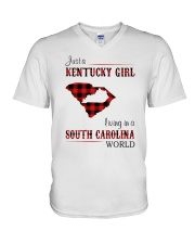 KENTUCKY GIRL LIVING IN SOUTH CAROLINA WORLD V-Neck T-Shirt thumbnail