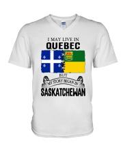 LIVE IN QUEBEC BEGAN IN SASKATCHEWAN ROOT WOMEN V-Neck T-Shirt thumbnail