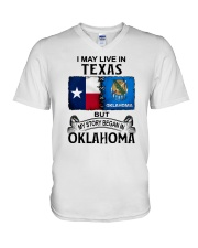 LIVE IN TEXAS BEGAN IN OKLAHOMA V-Neck T-Shirt thumbnail