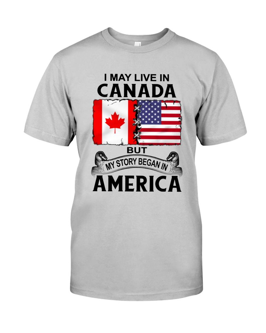 LIVE IN CANADA BEGAN IN AMERICA ROOT WOMEN Classic T-Shirt